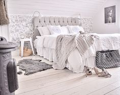 Bedroom Renovation - wallpaper is added to one wall - shiplap walls, slanted ceiling and floorboards are all painted white, giving this space a fresh, updated look - via Mary White Bo - Interior Renovation Family Dream Bedroom, Bedroom Bed, Bedrooms, Sloped Ceiling Bedroom, Slanted Ceiling, Interior Decorating, Interior Design, Bedroom Inspo, Living Area