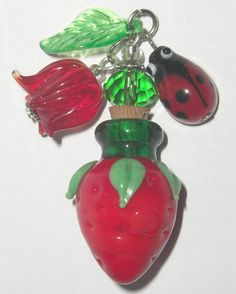 Mini Blown Murano Glass Strawberry ladybug Rosebud Beads Perfume Bottle Stopper
