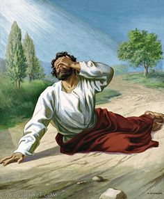 Acts 9: The Conversion of Saul. Jesus meets him on the road and blinds him for his dastardly deeds against His apostles. Three days later Jesus sends Ananias to heal Saul. Upon regaining his sight, Saul converts and becomes known as Paul.