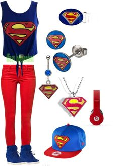 """superman outfit!!:)"" by evelyn-kati-menchaca ❤ liked on Polyvore  I want this sooooo bad. #inlove"