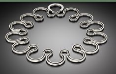 Michele Mercaldo: Sterling silver Serpentine collar with blacked silver chain