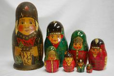 RARE Antique Russian Nesting Dolls 1900 Wood Wooden Matryoshka Toy Folk Art Old | eBay