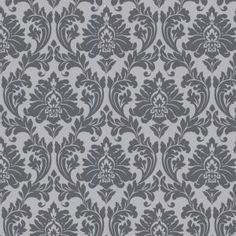 Graham & Brown Majestic Grey Removable Wallpaper - The Home Depot Grey Damask Wallpaper, Textured Wallpaper, Black Wallpaper, Office Wallpaper, Grey Palette, Calico Fabric, Accent Wall Bedroom, Master Bedroom, Ideas