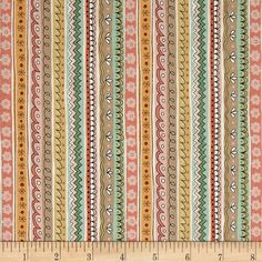 Andover/Makower Doodle Days Stripe Multi from @fabricdotcom Designed by Makower UK in association with Andover Fabrics, this cotton print collection features muted colorways and charming prints filled with trendy doodles. Perfect for quilting, apparel, and home decor accents. Colors include peach, pink, yellow, turquoise, and white.