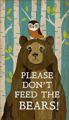 Bears and humans cannot coexist unless BOTH people and bears respect each other's boundaries. Bears who are fed by humans become bold and do things that bring them into unwanted contact. So, please, let's get along, don't feed the bears. Vintage Signs, Vintage Posters, Dont Feed The Bears, Novelty Signs, Bear Signs, Wise Owl, Vintage Room, Childrens Hospital, Cub Scouts
