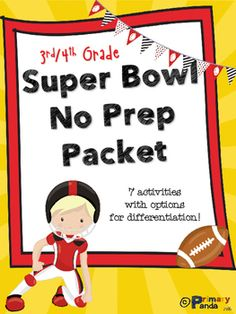 Who doesn't love a no prep packet? Who doesn't love the Super Bowl? Plenty of fun activities to get students excited for the upcoming 50th Super Bowl! Including Nonfiction Article with Questions!