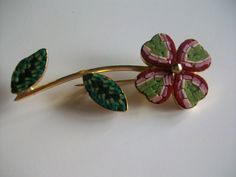 Italian micro mosaic brooch (Italy etched on back of leaf)