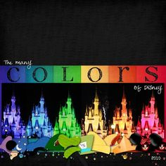 LOVE the layout with the castle in different colors and the hats.