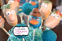 Phineas and Ferb cake pops