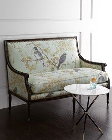 Horchow Massoud Bird Vines Settee - off, found on sale for Settee Sofa, Upholstered Chairs, Sofa Design, Furniture Design, Interior Design, Reupholster Furniture, Luxury Sofa, Contemporary Sofa, Leather Sofa