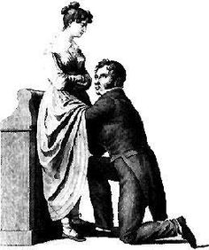 "Classic illustration of a woman's medical exam by a her doctor. Many 19th century medical textbooks used this illustration to show the proper manner to examine a female patient. The physician's eyes are diverted so he will not violate the woman's ""modesty."" #medical"