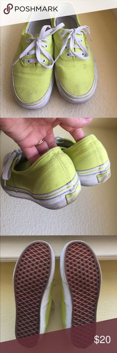 Neon Yellow Vans Love these Vans! They have a few very small spots on them, but I am sure they could easily be washed out! The soles/tread are still PERFECT. I'm only selling them because I don't wear them enough, and need more room in my closet! Feel free to make me an offer or bundle! Vans Shoes Sneakers