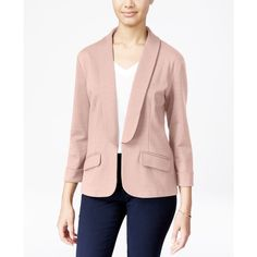 Say What? Juniors' Shawl-Collar Knit Blazer ($33) ❤ liked on Polyvore featuring outerwear, jackets, blazers, pale mauve, shawl collar jacket, knit jacket, knit blazer, pink blazers and shawl collar blazer