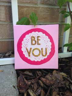 Be You handmade quote art canvas paper lace on Etsy, $17.00