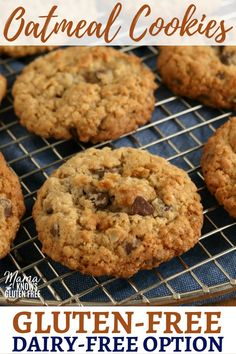 dairy free An easy recipe for thick and soft gluten-free oatmeal cookies. Baked in just ten minutes with a nice crispy edge. The recipe also has a dairy-free option. Dairy Free Treats, Dairy Free Cookies, Gluten Free Cookie Recipes, Oatmeal Cookie Recipes, Gluten Free Sweets, Gluten Free Baking, Gf Cookie Recipe, Gluten Free Oatmeal, Dairy Free Options