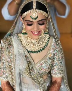 Bridal Jewelry 50 Sabyasachi Bridal Lehenga Royals Indian Weddings - What am I going to wear for my special day? This is one question that every single bride has to face before getting married to the love of her life. Sabyasachi Lehenga Bridal, Gold Lehenga, Indian Bridal Lehenga, Indian Bridal Wear, Indian Wear, Red Indian, Lehenga White, Pakistani Mehndi, Lehenga Blouse