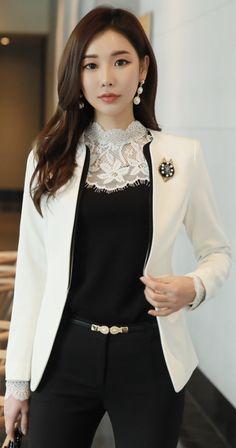 StyleOnme_Modern Collarless Jacket #ivory #jacket #chic #koreanfashion #kstyle #kfashion #springtrend #seoul #dailylook