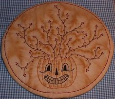 Primitive Stitchery Candle Mat PATTERN Halloween by thetalkingcrow, $3.00