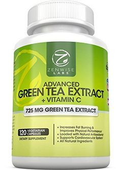 Green Tea Extract Supplement with EGCG for Weight Loss  Decaffeinated Vegetarian Pills for Metabolism Boost and Heart Health with Vitamin C  Natural Source of Energy 120 Vcaps by Zenwise Labs ** Check out this great product.