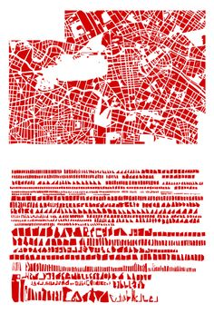 """French artist Armelle Caron explores in her playful series """"Everything Tidy,"""" doing to cities what Ursus Wehrli does to art — deconstructing the familiar grid representations into """"tidy"""" graphic anagrams of famous metropolises. Block Plan, Map Quilt, Armelle, Arts Integration, City Maps, Illustrations, Deconstruction, French Artists, Pattern Blocks"""