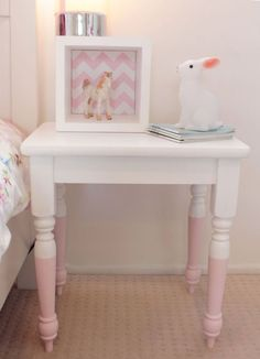 Color dipped legs on this bedside table are a nice detail and so easy to do.