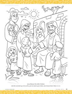 Jesus Blesses the Little Children- April Sharing Time 2017 week Sunday School Kids, Sunday School Activities, Sunday School Lessons, Sunday School Crafts, Jesus Coloring Pages, Bible Verse Coloring Page, Preschool Bible, Bible Activities, Sunday School Coloring Pages