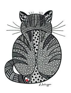 zentangle cat | Black and White Zentangle Cat drawing Print by LimeGreenArtShop, $15 ...