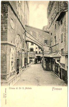 Orsanmichele e il PalazzoArte della Lana ed un palazzo in fondo mentre adesso è via Arte della Lana #ConosciFirenze