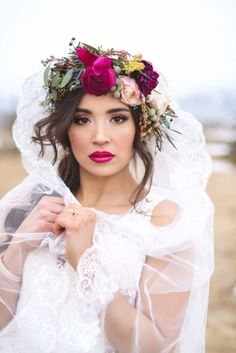 Lips, Eyes, Floral Crown (tick) - beautiful photography B. Beautiful Artistry image via Bridal Brilliance Rentals Over 60 Hairstyles, Oval Face Hairstyles, Evening Hairstyles, Ethnic Hairstyles, Wedding Hairstyles, Curly Hairstyles, Hairstyles Pictures, Floral Crown Wedding, Boho Wedding