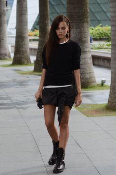 Anine Bing knit/ inside t-shirt Acne/ skirt Acne/boots Chanel/Earring Louis Vuitton/bag Smythson