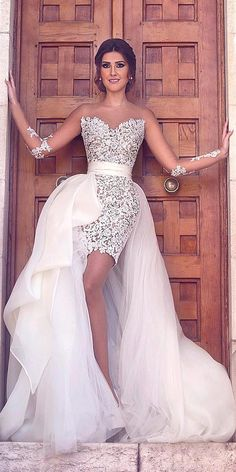 24 Amazing Short Wedding Dresses For Petite Brides ❤ Short wedding dresses can be different style and some of them include train. See more: http://www.weddingforward.com/short-wedding-dresses/ #wedding #dresses #short