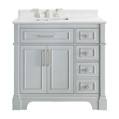 The Melpark family of vanities is modern regality at its finest. This 36 in. dove grey vanity holds a stately silhouette with paneling inlay design and bullnose edging, which is perfectly paired with our cultured marble top. 36 Inch Bathroom Vanity, Small Bathroom Shelves, Downstairs Bathroom, Guest Bathrooms, Vanity Sink, Home Depot Vanity, Marble Vanity Tops, White Sink, Bath Vanities