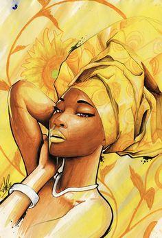 It's a yellow wrap by Tonderai.                                                                                                                                                                                 Mais