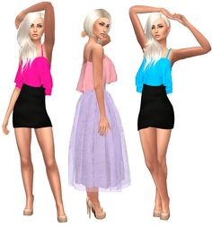 Marigold Sleeveless Ruffled Crop Top Recolor Download Standalone 50 colors Mesh…