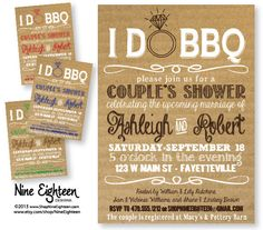 I Do BBQ Couples Shower Barbeque Bridal Shower. by NineEighteen