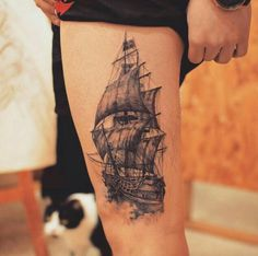 Detailed Ship Tattoo by Grain Funny Tattoos, Leg Tattoos, Body Art Tattoos, Sleeve Tattoos, Segel Tattoo, Future Tattoos, Tattoos For Guys, Unique Tattoos, Cool Tattoos