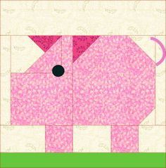 Pig block pattern Cute patterns to make into an animal quilt for a new baby.