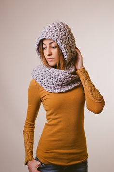 Hooded scarf chunky gray pewter ready to ship by Shanionie on Etsy, $45.00