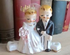 Vintage 1950's - Lefton/Norcrest - Bride and Groom Wedding Cake Topper/Figurine with Heart Candleholders - Japan - Sweet and Unique!!