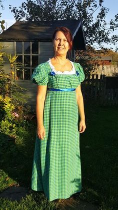 Regency dress bib dress in green/white check £69 $92 Salisbury, Wiltshire  Product details Beautiful 100% cotton Regency dress in green/white check fabric finished with royal blue ribbon. Suits Living History. All finished by hand. size 10-12 UK (as the bib can be adapted)  For shipping overseas please contact me first