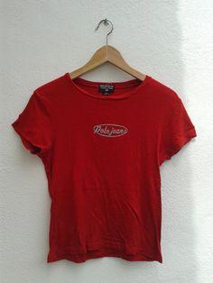 Polo Jeans Ralph Lauren Chest Logo Vintage 90s Women's Tops T-Shirt Size M by BubaGumpBudu on Etsy