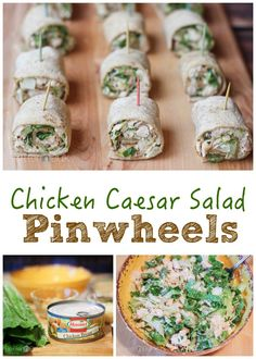 These may just be the perfect way to eat salad.on a toothpick! Easy Chicken Caesar Salad Pinwheels recipe - a family-friendly quick meal or party appetizer Toothpick Appetizers, Pinwheel Appetizers, Pinwheel Recipes, Appetizers For Party, Appetizer Recipes, Snack Recipes, Parties Food, Wrap Recipes, Healthy Appetizers
