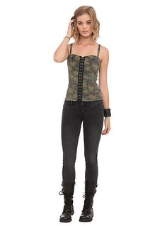 Royal Bones Camouflage Lace-Up Corset Top | Hot Topic