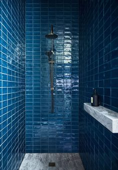Flack Studio likes, 64 comments - The blue bathroom! A bold gesture of colour saturates the bathrooms at our Elmore Residence - the central bathroom Modern Bathroom Tile, Bathroom Tile Designs, Bathroom Trends, Bathroom Floor Tiles, Bathroom Renovations, Bathroom Interior, Shower Tiles, Bathroom Ideas, Minimalist Bathroom