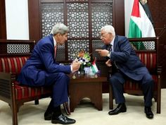 In this handout photo provided by the Palestinian Press Office, President Mahmoud Abbas meets with US Secretary of State John Kerry November 24, 2015 in Ramallah, West Bank. (Photo by Osama Falah/PPO via Getty Images)