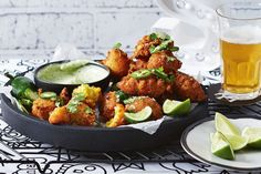 """""""These corn fritters are an absolutely perfect beer snack: salty, spicy, all that stuff you want. It's a job, so they're great if you have friends coming around,"""" says chef Shannon Martinez. Corn Fritter Recipes, Vegetarian Recipes, Cooking Recipes, Catering Recipes, Savoury Recipes, Savoury Dishes, Delicious Recipes, Gourmet Breakfast"""