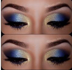 Blue & Gold Makeup for Homecoming game
