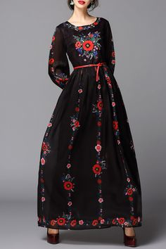 Black Embroidered Belted Maxi Dress | Maxi Dresses at DEZZAL