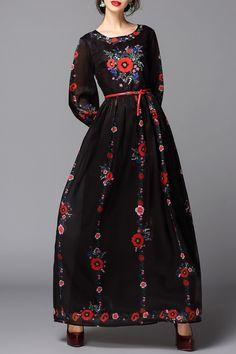 Flower Print Maxi Long Sleeve Dress