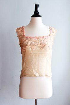 Camisole en soie des années 1920 avec Crochet par FitOfVintage